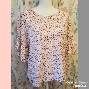 Vince Camuto XL White Pink Floral Blouse